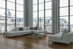 Sótão brilhante moderno com design de interiores grande de Windows ilustração do vetor