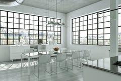 Sótão brilhante moderno com design de interiores grande de Windows ilustração royalty free