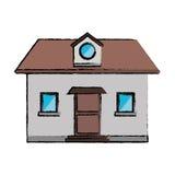 Sótão de tiragem da janela da casa da vista dianteira ilustração do vetor