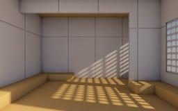 Sótão e rendição simples contemporânea moderna do sala e a mínima de wall/3d Imagem de Stock Royalty Free