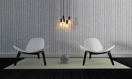 Sótão e sala de visitas simples com cadeira e parede background-3d com referência a Fotografia de Stock