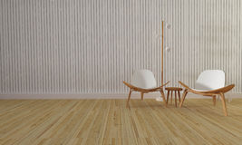 Sótão e sala de visitas simples com cadeira e parede background-3d com referência a Fotos de Stock Royalty Free
