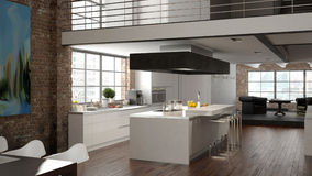 Sótão moderno com uma cozinha rendição 3d Imagens de Stock Royalty Free