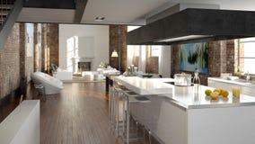 Sótão moderno com uma cozinha rendição 3d Foto de Stock