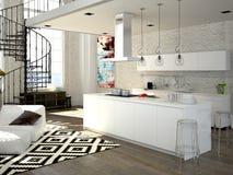 Sótão moderno com uma cozinha rendição 3d Fotos de Stock Royalty Free