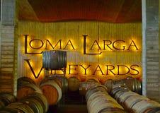 Sótano de los viñedos de Loma Larga el 20 de marzo de 2012 en Casablanca, Chile Imagen de archivo