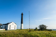 Sõrve Lighthouse in Torg, Saaremaa, by the Baltic Sea. Sorve Lighthouse and the Visitor Centre house in Saare County on the island of Saaremaa in Estonia. It royalty free stock photography