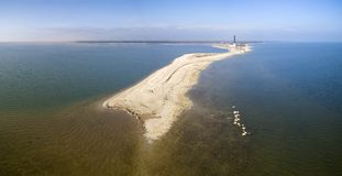 Sõrve peninsula and Sõrve lighthouse. Aerial panoramic view to Sõrve peninsula and the island of Saaremaa. This photo is made up from the sky with dji phantom Royalty Free Stock Photo