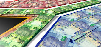 Södra - afrikan Rand Notes Flag Royaltyfri Bild