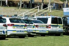 Södra - afrikanska polisbilar - bred vinkel Arkivfoto
