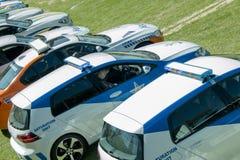 Södra - afrikanska polisbilar i rad - bästa sikt Royaltyfri Foto