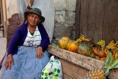 södra Amerika saleswoman Arkivbilder