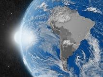 Södra - amerikansk kontinent från utrymme stock illustrationer