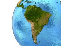 Södra - amerikansk kontinent på jord Arkivbild