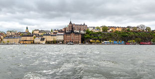 Södra del av Stockholm som ses från ön Riddarholmen Royaltyfria Foton