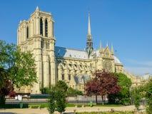 Södra fasad av den Cathedrale Notre-Dame de Paris Royaltyfri Fotografi