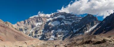 Södra framsida av Aconcagua Arkivbild
