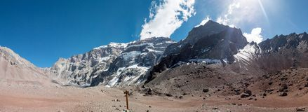 Södra framsida av Aconcagua Royaltyfri Fotografi
