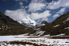 Södra framsida av sakrala Mount Kailash Arkivfoto