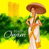 Södra indierKeralite kvinna med paraplyet som firar Onam stock illustrationer