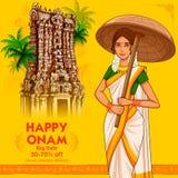 Södra indierKeralite kvinna med paraplyet som firar Onam royaltyfri illustrationer
