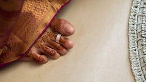 Södra indisk brudfot Fotografering för Bildbyråer