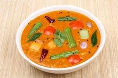 Södra indisk maträtt, Sambar. Royaltyfri Fotografi