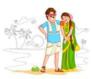 Södra indiska par vektor illustrationer