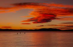 Södra Lake Tahoe solnedgång royaltyfri foto