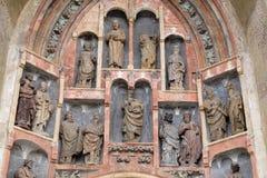 Södra portal av kyrkan av St Mark i Zagreb Royaltyfri Fotografi