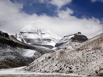Södra sida av Kailash med den Nundu sikten, Tibet Royaltyfria Bilder