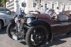 Södra sida för wheeler_front för tyrol klassiker cars_2015_Morgan tre VI Royaltyfri Fotografi