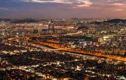 Södra stad på natten Arkivfoto