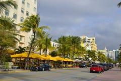 Södra strand för gatasikt, Miami Arkivfoto