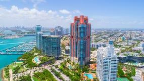 Södra strand, Miami Beach Florida flyg- sikt royaltyfria foton