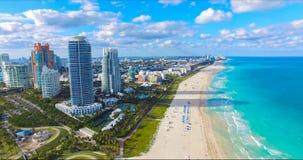 Södra strand, Miami Beach Florida flyg- sikt arkivbild