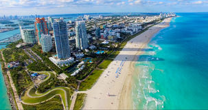 Södra strand, Miami Beach Florida flyg- sikt royaltyfri foto