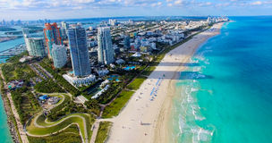 Södra strand, Miami Beach Florida flyg- sikt royaltyfri bild