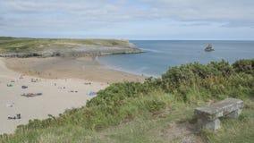 Södra strand Pembrokeshire södra Wales för bred tillflyktsort arkivfoton