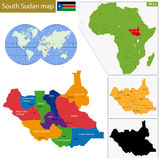 Södra Sudan översikt vektor illustrationer