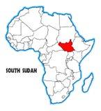 Södra Sudan Afrika översikt royaltyfri illustrationer
