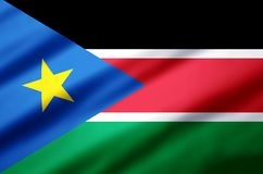 Södra Sudan realistisk flaggaillustration royaltyfri illustrationer