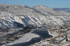 Södra Thompson River - scenisk vinter Royaltyfria Bilder