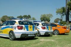 Södra tre - afrikanska polisbilar i rad Royaltyfri Foto