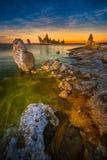Södra Tufa för mono sjö efter solnedgånglodlinjesammansättning Fotografering för Bildbyråer
