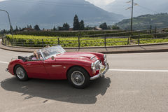 Södra Tyrol Rallye 2016_ Austin Healey 3000 BJ8_red_left Royaltyfria Foton