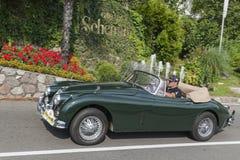 Södra Tyrol Rallye 2016_Jaguar JK 150_green_side Arkivbilder