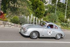 Södra Tyrol Rallye 2016_Porsche 356 A-GT_silver-gray Fotografering för Bildbyråer