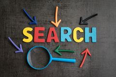 Sök begreppet, den bästa vägen som finner websiten och innehållet från i arkivbild