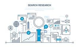 Sök forskning, analys av information, service, marknadsföringen, information, statistik, analytics Royaltyfria Bilder